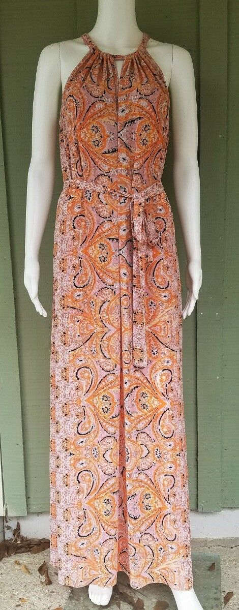 BCBG Max Azria MIA Ambrosia Print Maxi Dress XS w Belt