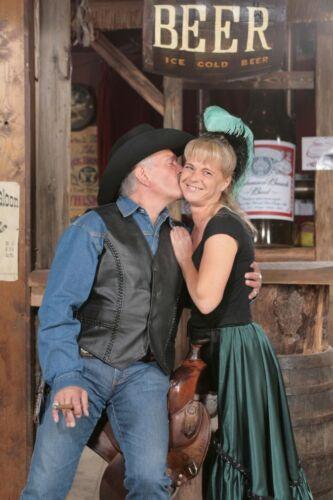 Lederweste Leder Weste Glattleder schwarz Kutte Biker Cowboy Western