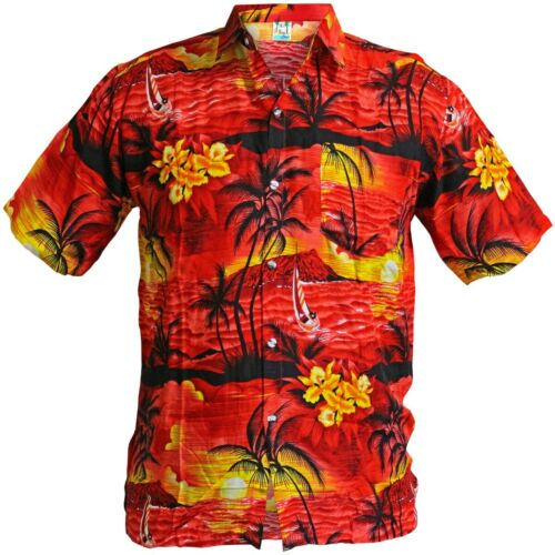 RED HAWAIIAN SHIRTS Summer Holiday Tropical Beach Pool Aloha Luau Party S 3XL