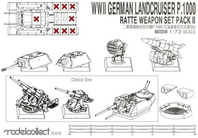 Modelcollect 1/72 WWII Germany Landcruiser p.1000 Ratte Weapon Set [Pack II]
