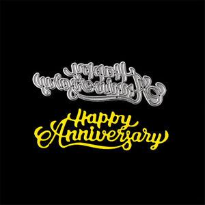 Happy Anniversary Cutting Dies Stencil Scrapbooking Album Paper Embossing DECO