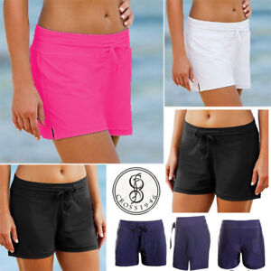 8b9b1cf9d3 Image is loading Women-Ladies-Plain-Swim-Shorts-Bikini-Swimwear-Boy-