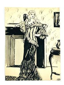 c.1937 Original Ink Drawing Elegant Woman in a Dress SIgned Jack D. Weaver