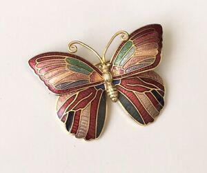 Vintage-cloisonne-Butterfly-Brooch-in-enamel-on-Metal