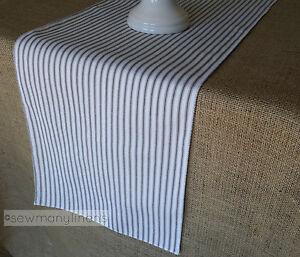 Black and White Ticking Stripe Table Runner Farmhouse Vintage Kitchen Home Decor