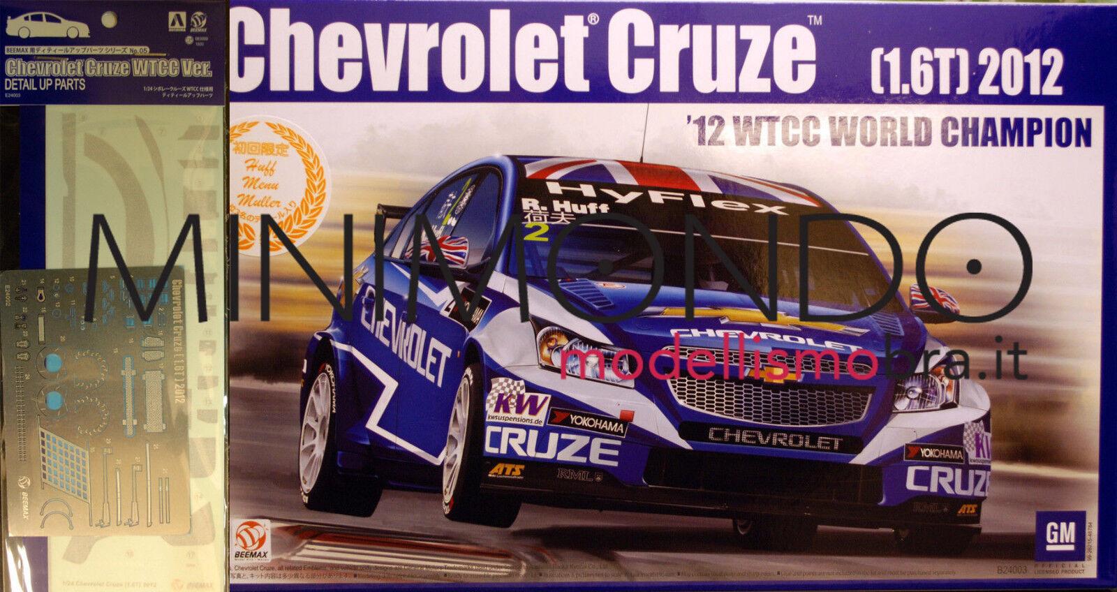 KIT CHEVROLET CRUZE 1.6T 2012 WTCC CHAMPION + GRADE UP 1 24 AOSHIMA 08299 BEEMAX