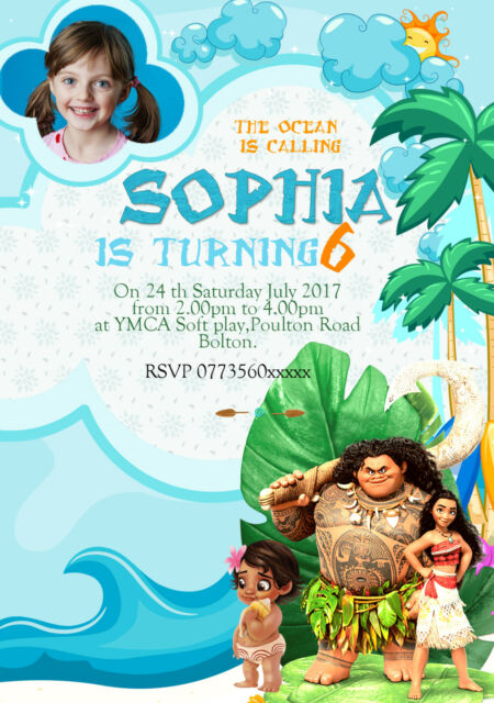Personalised Disney Moana Birthday Party Invitations Thank You Cards X Set 8