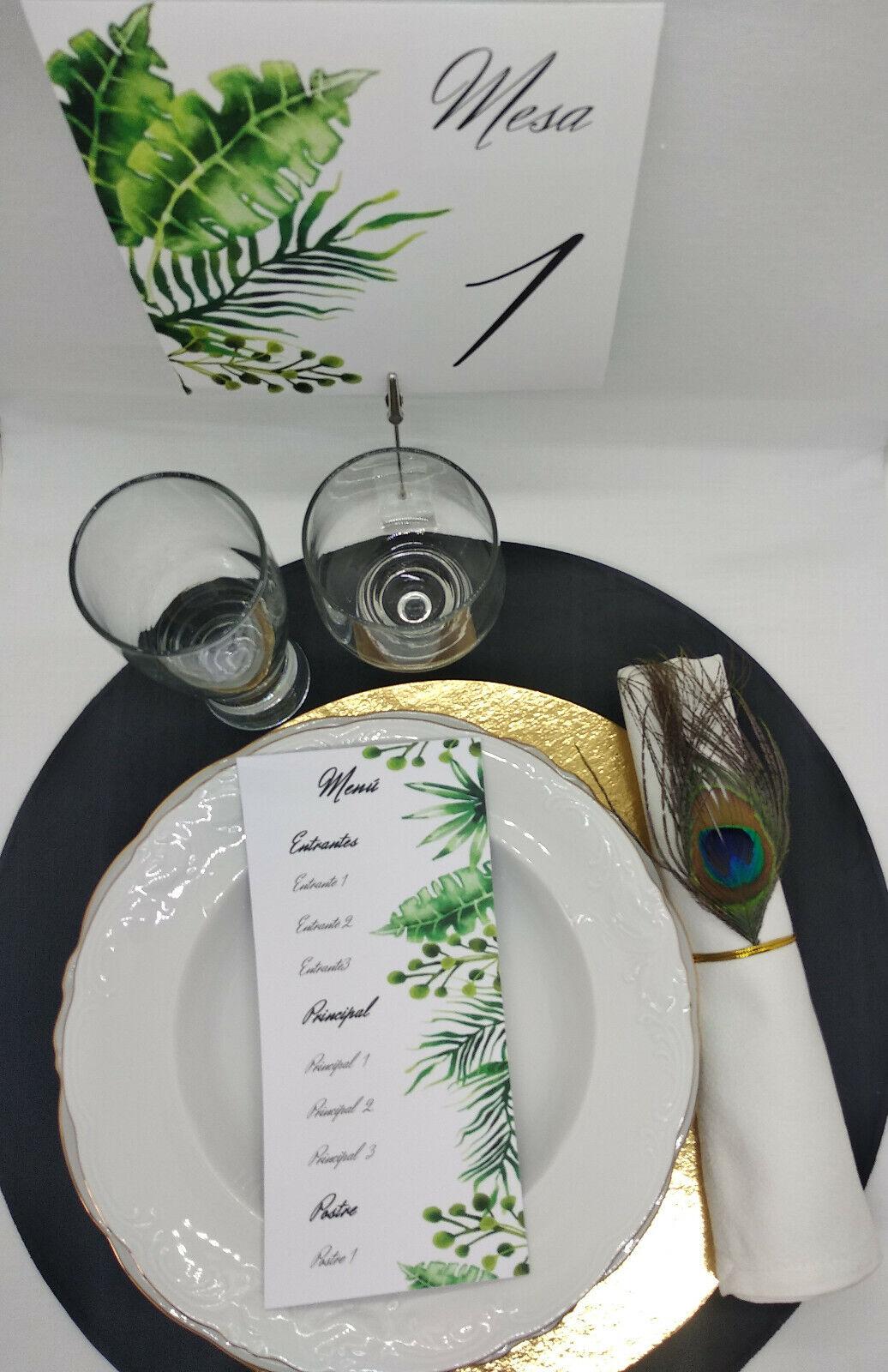 Tarjeta menu para bodas. 10 unidades. Se envian recortados