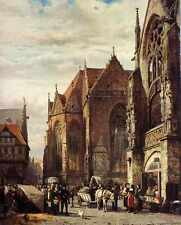 Springer Cornelis Many Figures On The Market Square In Front Of The Martinikirch