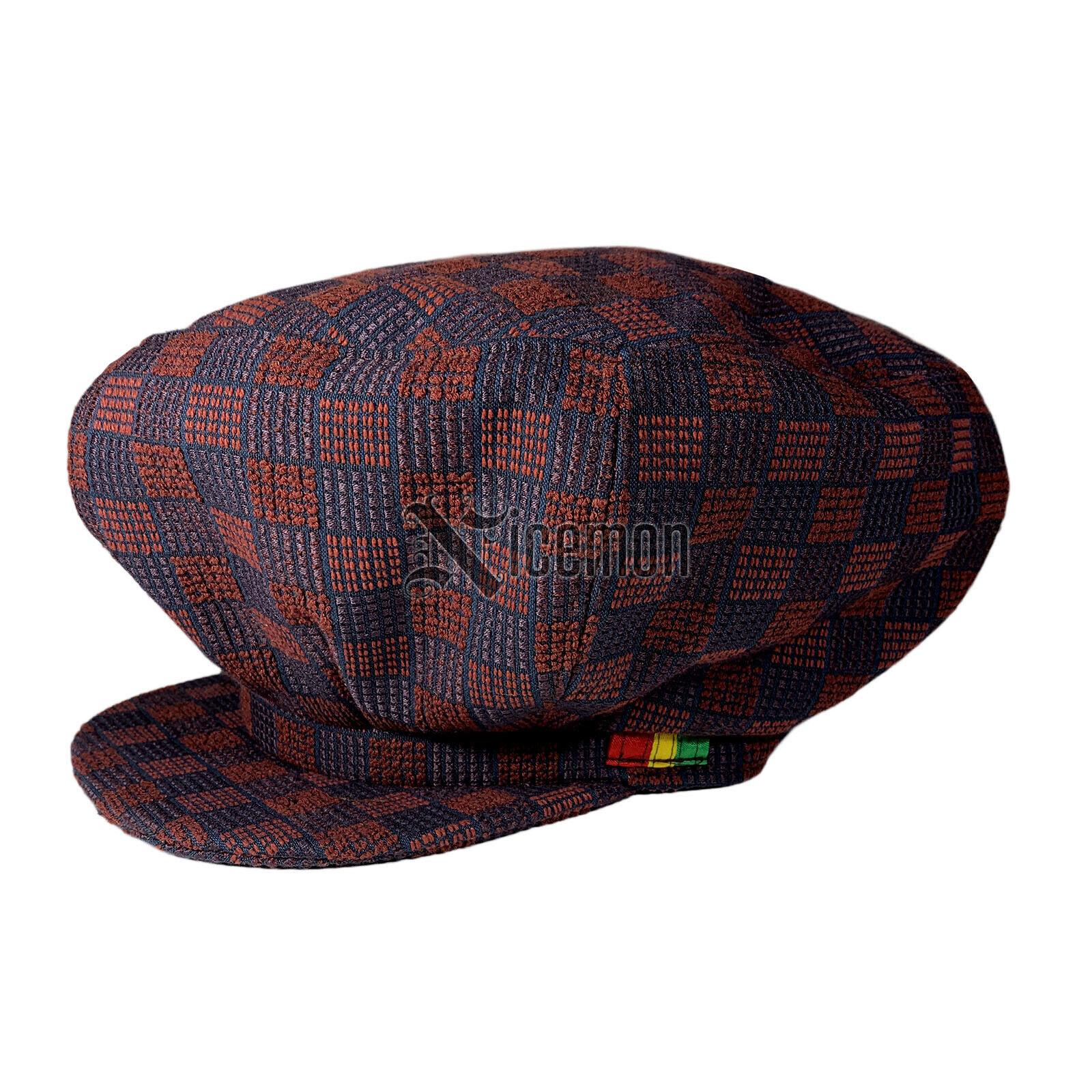 Checker Rot Wurzeln Hut Kappe Rastafari Reggae Jamaica Afrika Negus XL 59 CM