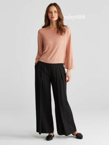 EILEEN FISHER M L XL TENCEL KNIT BELL SLEEVE BOX TOP TOFFEE CREAM BROWN $198 NWT