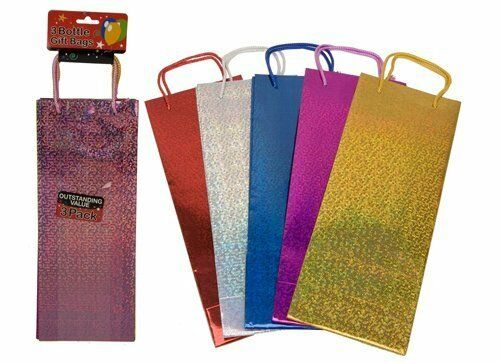 Assorted Mix Holographic Gift Bags for Wine Bottle Christmas Present