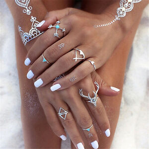 7Pcs-Set-Vintage-Boho-Silver-Stack-Plain-Above-Knuckle-Ring-Midi-Finger-Rings