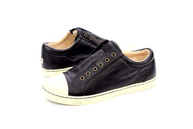 7c21efbfe89 UGG Australia Jemma Leather Black Fashion Sneaker Shoe Slip on 1015247  Tennis 7