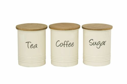 Set of 3 Tea Coffee Sugar Stainless Steel Cream Storage Canisters Jars with Lid