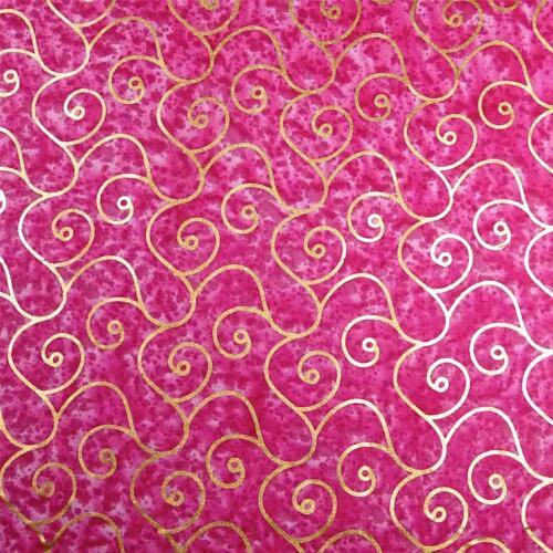 Metallic Gold Scrolls on Bright Pink Batik A Montego Bay Cotton BTHY or BTY