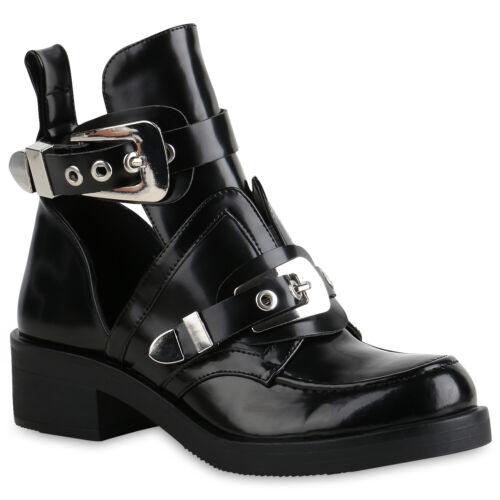 Damen Stiefeletten Ankle Boots Cut Outs Leder-Optik Schuhe Booties 898774 Top