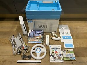 Nintendo-Wii-Console-Boxed-with-Games-inc-Mario-Kart-amp-Wii-Wheel-and-Wii-Sports