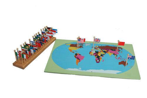 Montessori, Montessori, Montessori, mapa del mundo con 36 banderas, grande, ms147  grandes precios de descuento