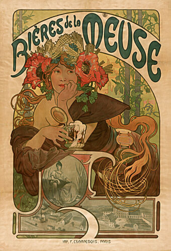 1899 by Mucha art print on Paper or Canvas Giclee Poster BIERES DE LA MEUSE