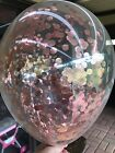 Rose Gold Clear Confetti 30cm Balloons PACK OF 3 1st Birthday Wedding Engagement