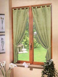 coppia TENDE VERDE raso 60X150 - tenda finestra cucina soggiorno ...