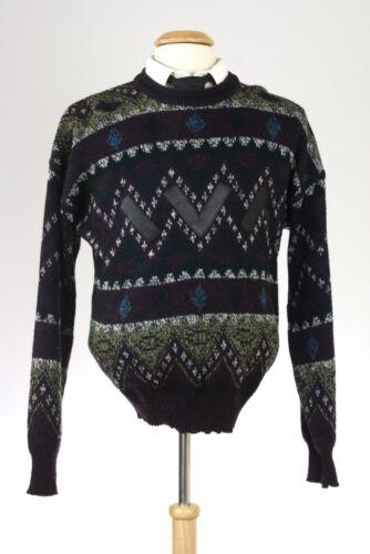 Vintage 80s Purple/Black Leather Acrylic Cosby Geometric Sweater M