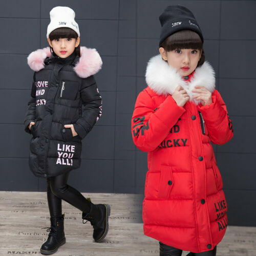 Kid Girls Winter Down Fur Jacket Thick Long Hooded Padded Warm Coat Parkas Snow