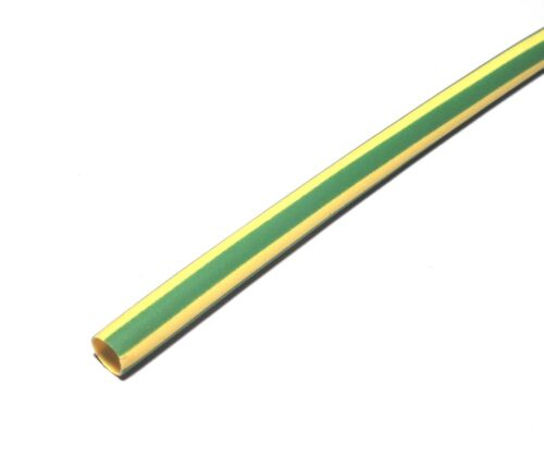 Gaine thermoretractable 5//2,5mm Vert//Jaune Longueur 1,20m                #GT52VJ