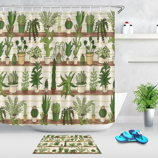 Cactus Succulents Waterproof Fabric Shower Curtain Liner Bathroom Decor Hooks