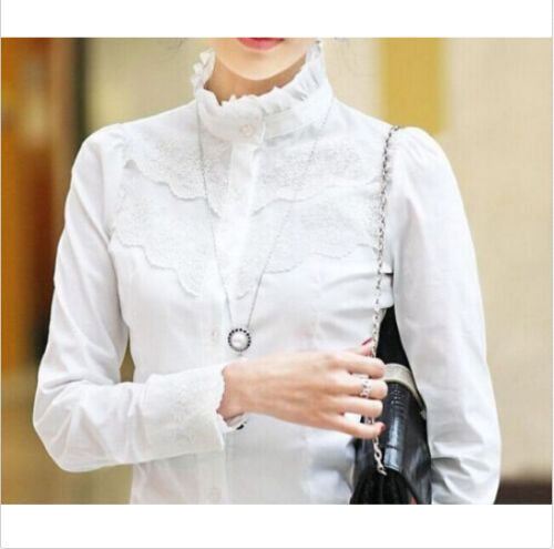 Long Sleeves White Victorian Top Ladies Fitted Casual Sheer Shirt Lace Blouse