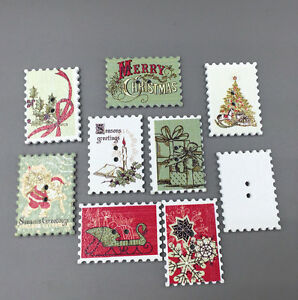 Christmas-Holiday-card-production-stamp-Wooden-Buttons-Sewing-Scrapbooking-34mm