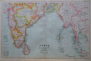 1919-MAP-SOUTHERN-INDIA-CEYLON-BURMA-BENGAL-MADRAS-MYSORE-HYDERABAD-GOA-BOMBAY