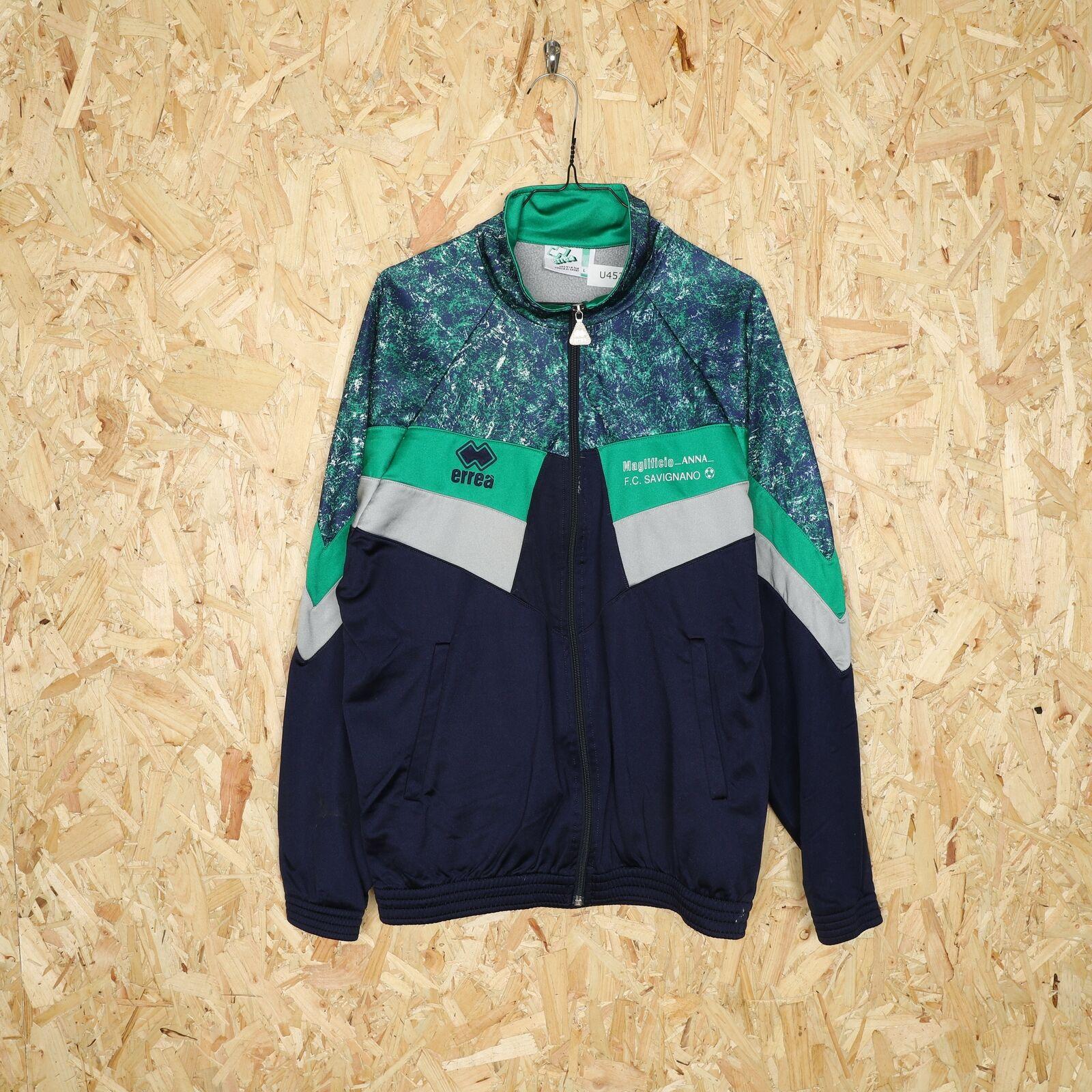 90s ERREA Zip Up Tracksuit Top Jacket Green   Large L