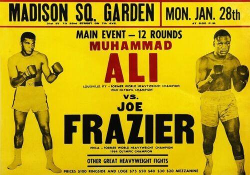 Muhammed Ali Vs Joe Frazier à MSG A5 impression vintage Boxe Poster Photo
