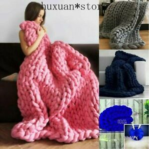 Knit-Throw-Sofa-Bed-Blanket-Carpet-Wool-Chunky-Knitted-Thick-Blanket-Yarn-Bulky