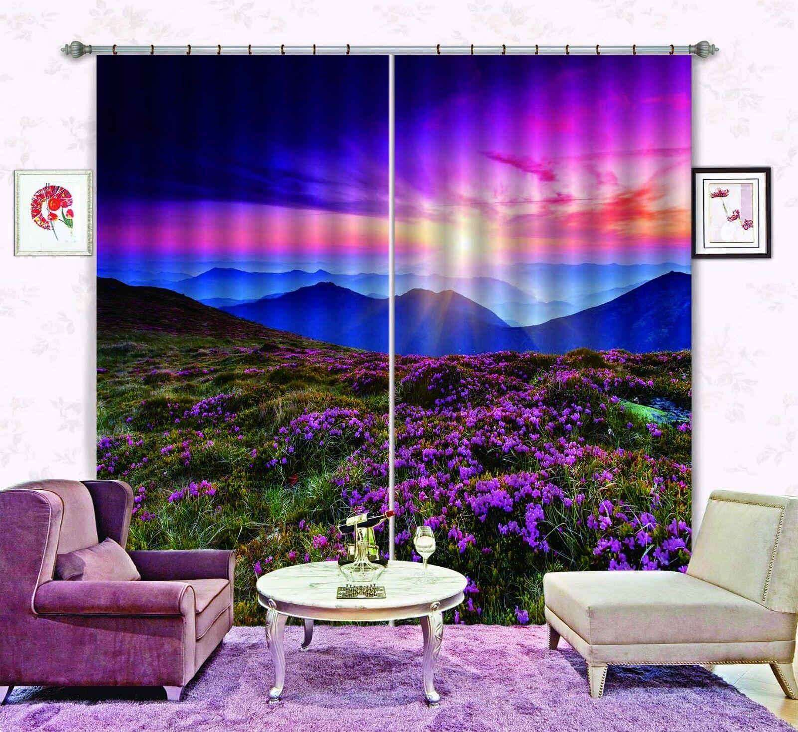 Flor de Sol 3D 54 Cortinas de impresión de cortina de foto Blockout Tela Cortinas Ventana CA
