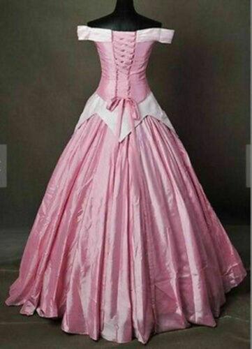 AA Details about  /Princess Aurora Adult Costume Sleeping Beauty Cosplay Pink Dress Halloween