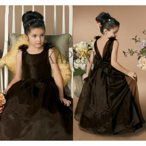Black Tulle Flower Girl Dress Communion Prom Party Princess Formal Ball Gown