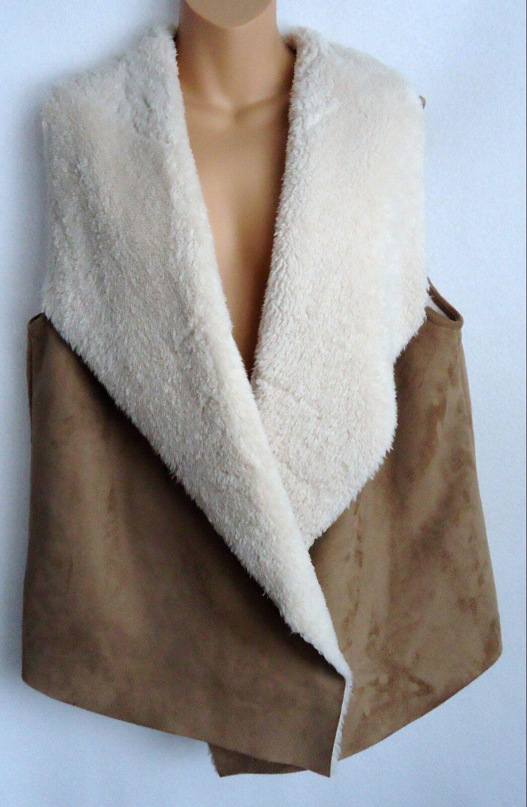 Lauren Ralph Lauren Women's 1X Plus Vest Faux Suede Tan Sherpa