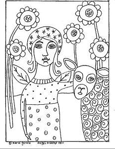 RUG HOOK Craft PAPER PATTERN Angel And Sheep FOLK ART ABSTRACT PRIMITIVE Karla G