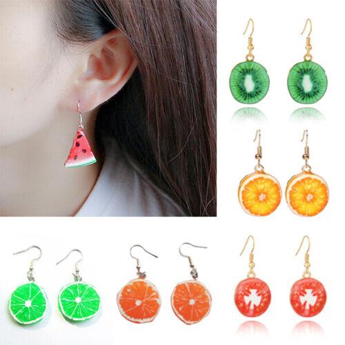 3D Cute Strawberry Orange Watermelon Lemon Fruit Ear Stud Hook Earrings