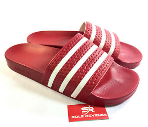45f72bdae New Adidas ADILETTE Slides Sandals Mens Red White Beach Flip Flops ...