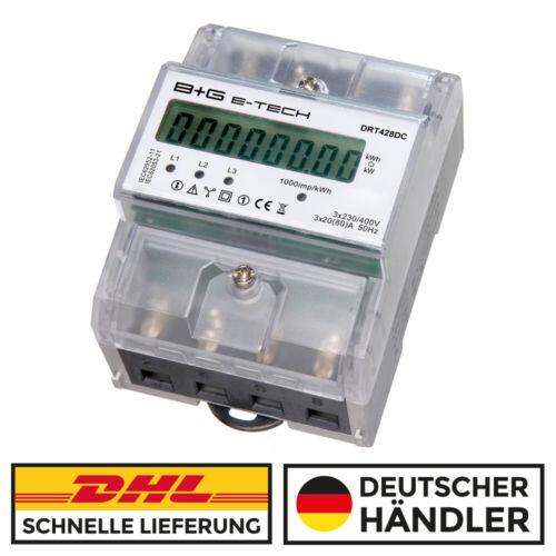 B+G e-tech digi. Drehstromzähler Stromzähler S0 LCD 3x20(80)A für DIN Hutschiene