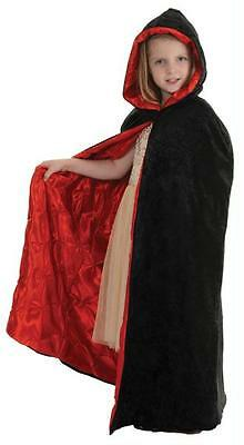 CHILD BLACK /& RED LINING CAPE WITH HOOD COSTUME ACCESSORY UR26148