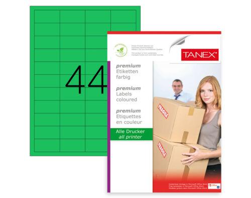 25 Bl TANEX TW-2044 Universal//Adressetikett 48,5 x 25,4 mm grün 1100 Etiketten