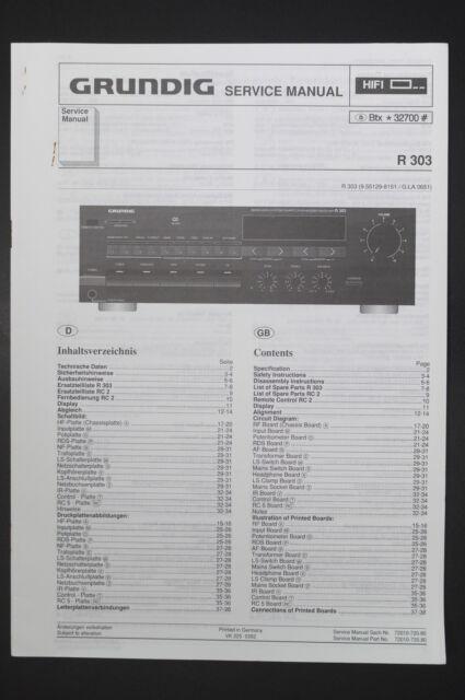 Grundig Receiver R 303 Original Service Manual  Guide   Wiring Diagram  Diagram