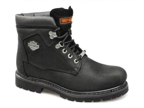 Harley Davidson BADLANDS Mens Oily Leather Lace Up 6 inch Biker Boots Black New