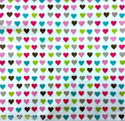 4 x Single Vintage Table Paper Napkins / Craft / for Decoupage / LITTLE HEARTS