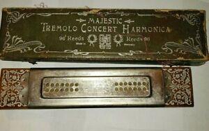 """Antique Wiener Concert harmonica 96 Reeds TREMOLO CONZERT 9.5"""" w/ case c. 1900"""